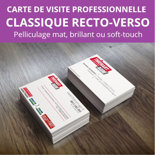Carte De Visite Professionnelle Classique 85x54mm Avec Pelliculage Recto Verso